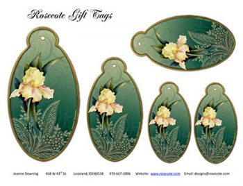 Rosecote Iris Gift Tags designed by Jeanne Downing