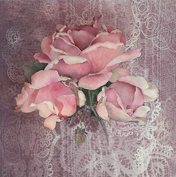 Roses and Raspberry Stain by Jeanne Downing
