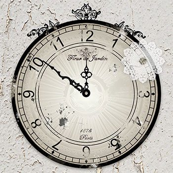 Shabby Chic Clock E-Background by Jeanne Downing