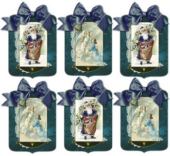 Christmas Santa and Angel Blue Gift Tags by Jeanne Downing