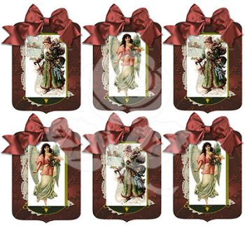 Santa and Angel Red Gift Tags Bundle designed by Jeanne Downing