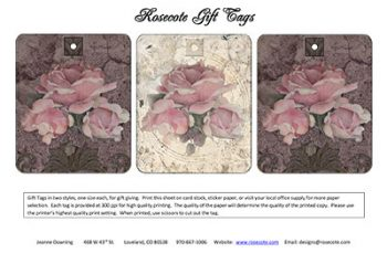 English Roses Gift Tag Sheet by Jeanne Downing