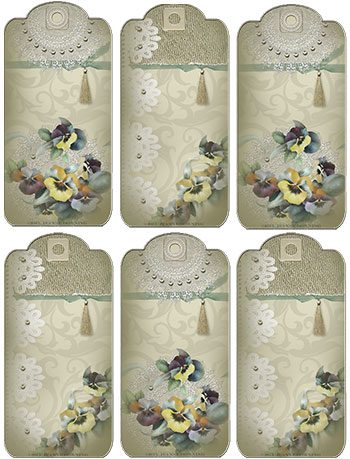 Posh Pansies Gift Tags Sheet by Jeanne Downing
