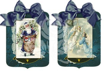 Santa and Angel Blue Gift Tags designed by Jeanne Downing