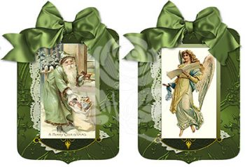 Santa and Angel Green Gift Tags designed by Jeanne Downing