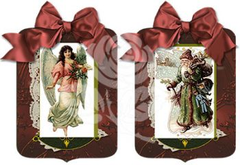 Santa and Angel Red Gift Tags designed by Jeanne Downing