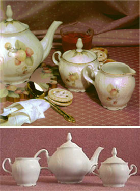 Strawberry Tea Set matted Porcelain Surface from the book Expressions of Elegance, Volume 2