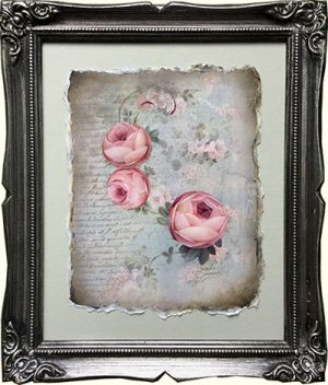 Wallpaper and Roses Original Art by Jeanne Downing